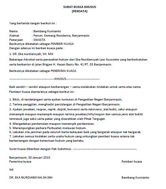 contoh surat kuasa gugatan harta bersama id jobs db