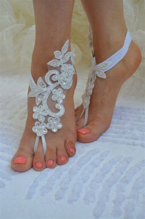 barefoot sandals Beach wedding sandals white by UnionTouch