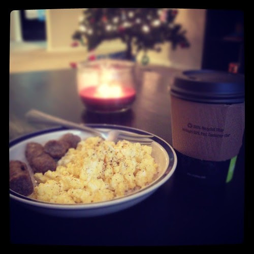 Perfect snow day breakfast...scrambled eggs, sausage and some nice warm tea.