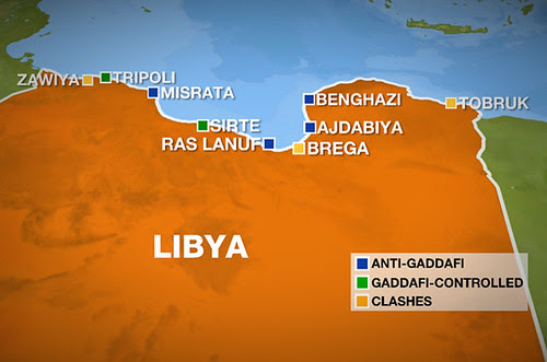 Map purported to illustrate those cities in Libya that are under the control of the western-backed rebel forces. The Libyan military is fighting to reclaim territory from the rebels. by Pan-African News Wire File Photos