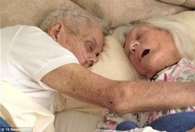 Dying wish: Jeanette Toczko, 96, and her 95-year-old husband, Alexander Toczko, from San Diego, California, who were married for 75 years have fulfilled their final wish to die in each other's arms after they passed away clutching hands, within hours of each other, in their bed (pictured)