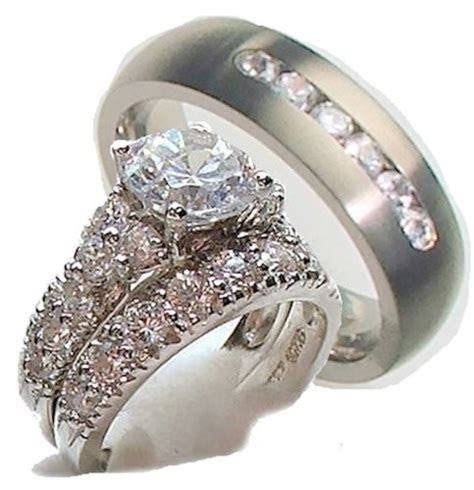 His Hers 3 Piece Engagement Wedding Ring Set 925 Sterling