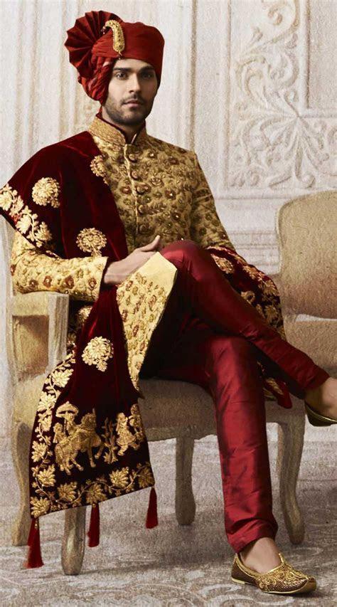Golden Designer Wedding Sherwani For Groom TK0414