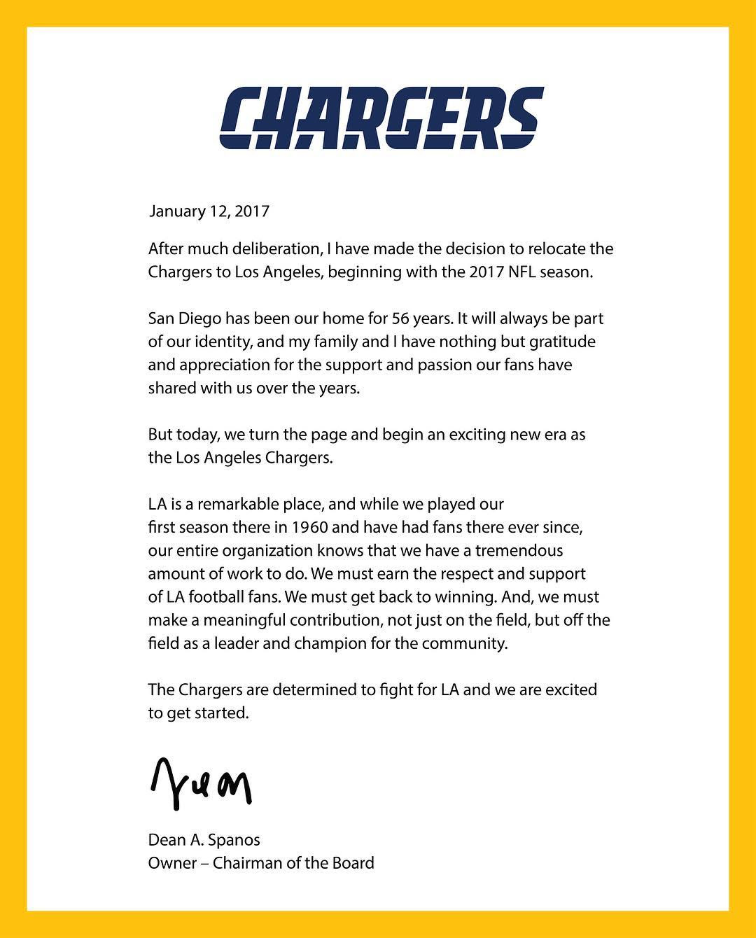 3 - A letter from Dean Spanos