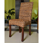 International Caravan Bali Louisa Woven Abaca Cushion Dining Chair, Salak Brown