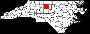 Map of North Carolina highlighting Guilford County