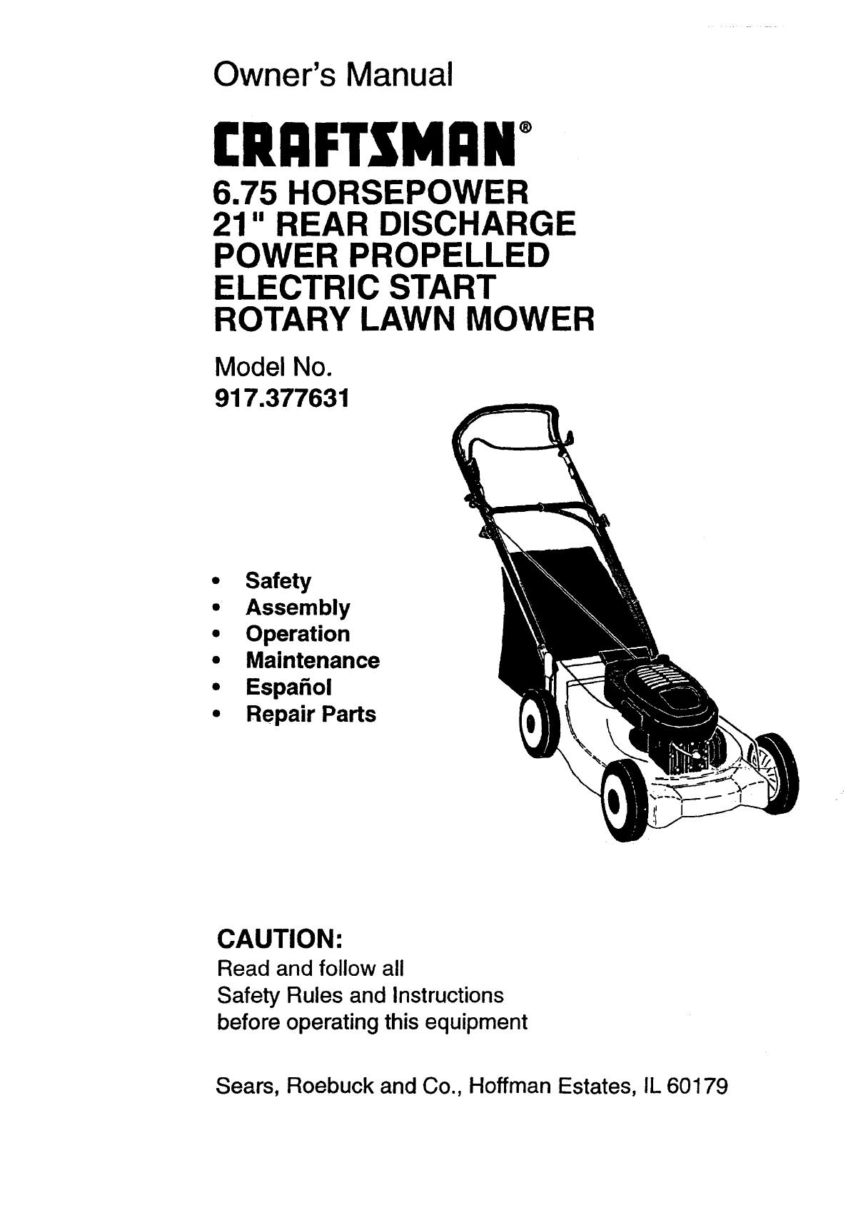 Craftsman 6.5 Hp Lawn Mower Manual : Craftsman Mower