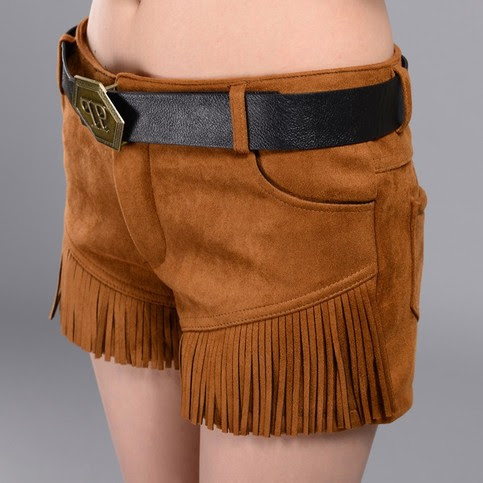 Women Shorts Fashion Solid Suede Shorts Autumn Winter Tassel Patchwork Short Pants Women's Boot Shorts Solid Casual Wear on Storenvy