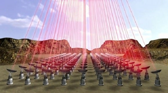 A phased laser array, perhaps in the high desert of Chile, propels sails on their journey. Credit: Breakthrough Initiatives.