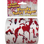 Bloody Toilet Paper Tp Roll Bathroom Decor Gory Halloween Decor Party Novelty