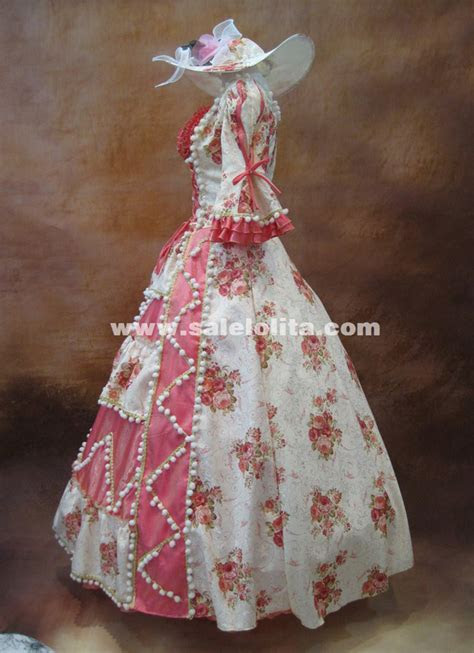 high  pink floral beading marie antoinette dress
