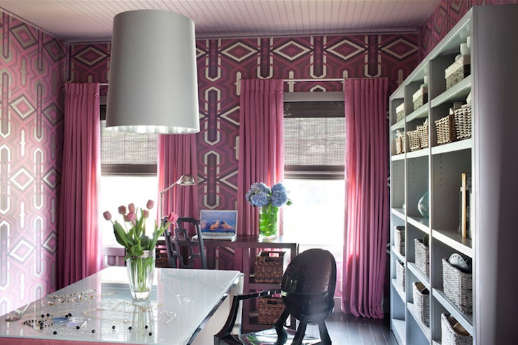Pink Drapes - Contemporary - den/library/office - Decor Demon