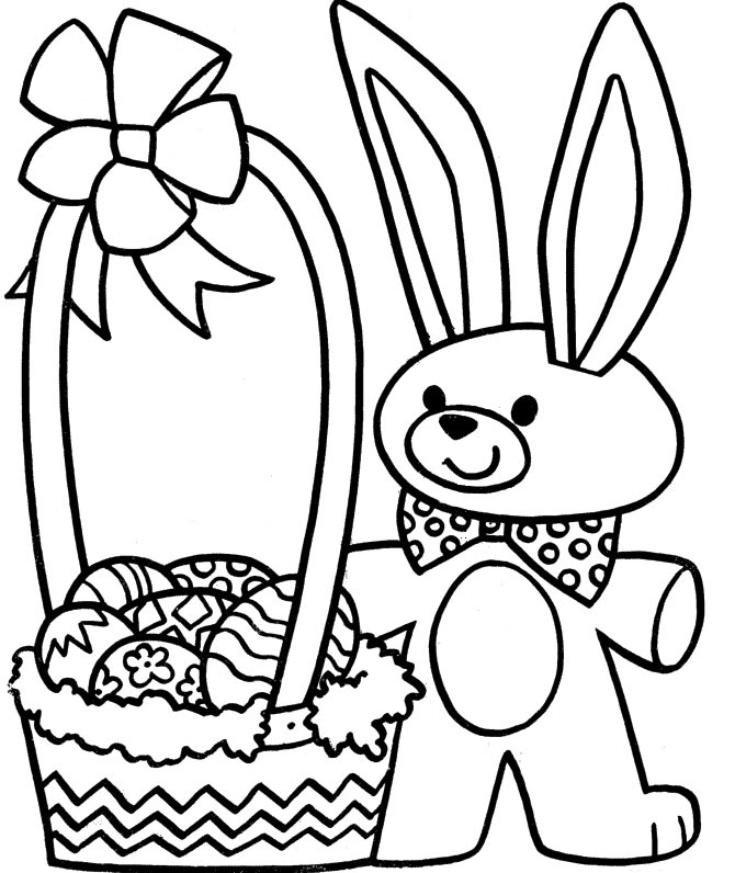 Little Rabbit With Easter Egg Basket Coloring Pages ...