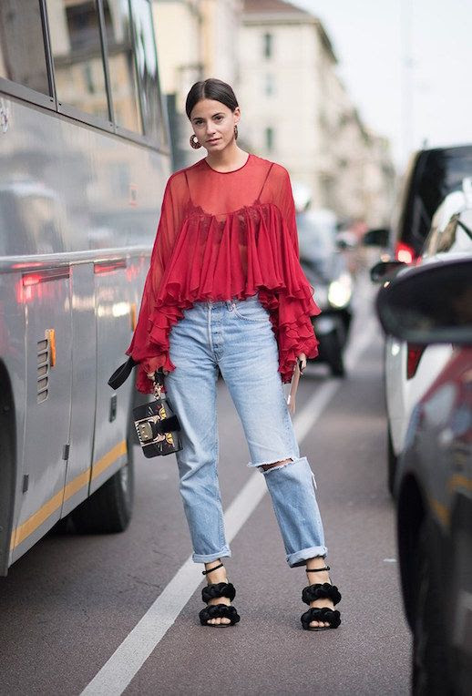 Le Fashion Blog Red Ruffled Blouse Light Wash Jeans Braided Sandals Lunch Box Bag Via Style Caster