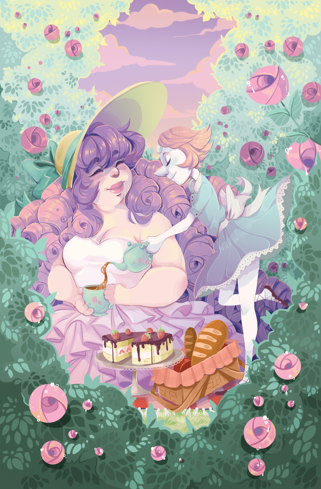 Pearl and Rose having a tea party, an 11x17 print that I will be selling at a con I'll be at in spring~~