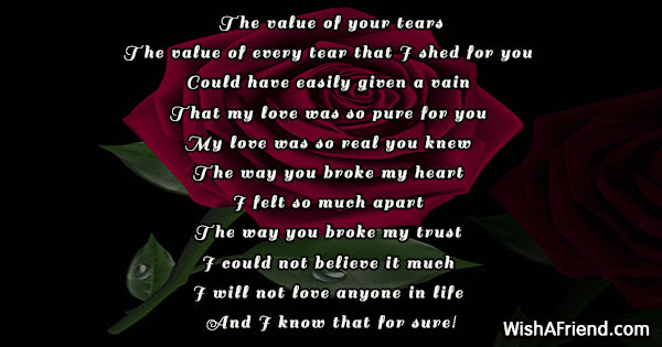 The Value Of Your Tears Broken Heart Poem