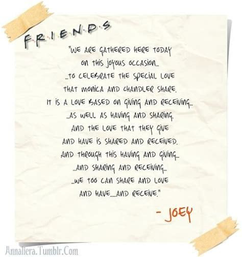 Joey's wedding speech   F.R.I.E.N.D.S   Pinterest