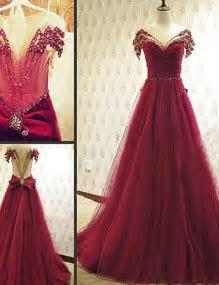 Burgundy prom dresses, sexy prom dresses, rhinestone prom