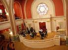 NPR's David Greene leads a discussion about religion with a group of young adults at the Sixth & I Historic Synagogue in Washington, D.C.