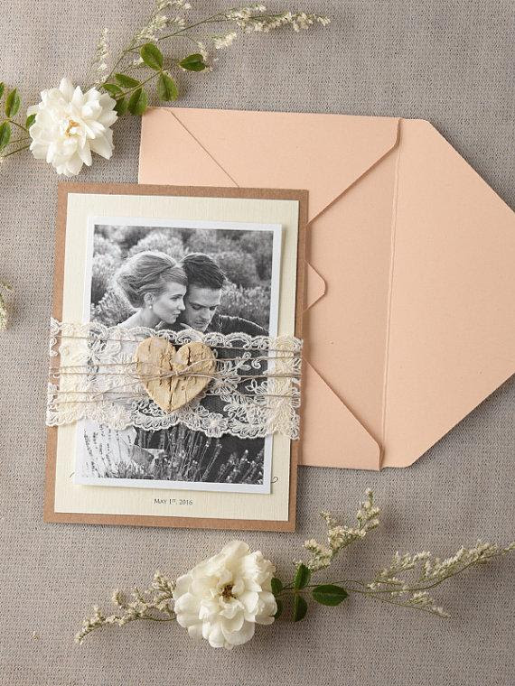 Wedding Thank You Card Rustic Thank You Cards Lace Wedding Thank