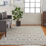 "Nourison Jubilant Trellis Area Rug Grey 7'10"" x 9'10"" 8' x 10' Ivory, Cream, Grey Rectangle"