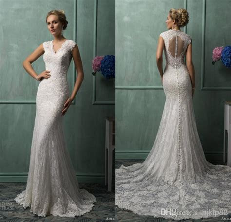New Arrival Mermaid V neck Amelia Sposa Chapel Train Ivory