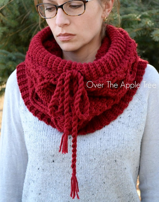 Big Cabled Woman's Cowl Crochet Cowl by OverTheAppleTree on Etsy