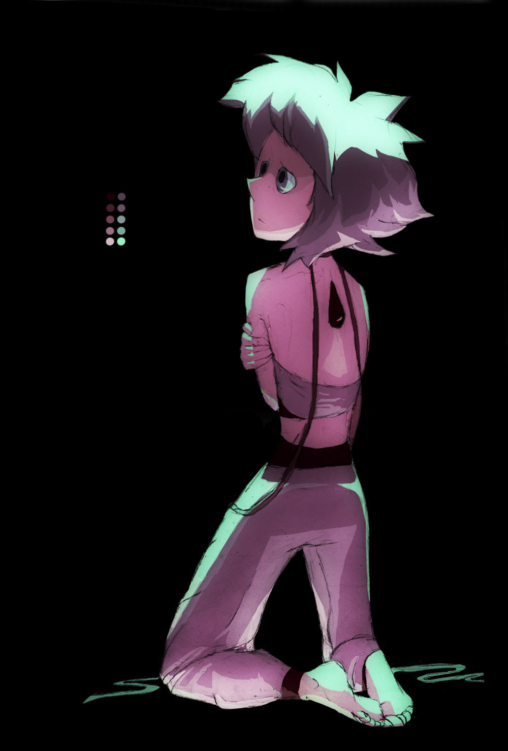 A quick glowy Lapis with the colour scheme see in Jailbreak. I thought it looked kinda retro. Also tried out trousers instead of a skirt for yucks.