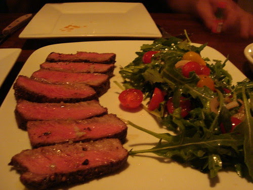 Flat Iron Steak + Arugula/Heirloom Tomato Salad