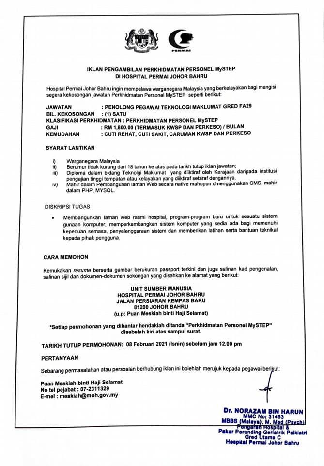 Iklan Jawatan Hospital Permai Johor Bahru • Portal Kerja ...