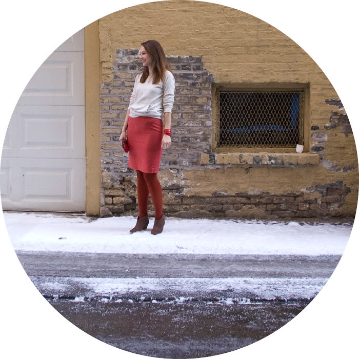 dash dot dotty, valentine's day, red and pink, pencil skirt, pink and rust, winter, workfit