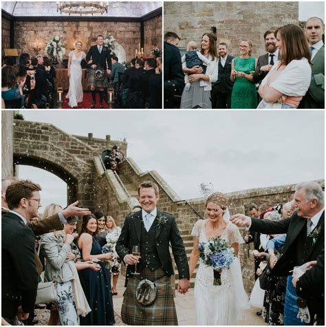 Borthwick Castle wedding and Jenny Packham bride