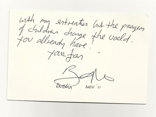 Parte de carta enviada por Bono a Lula e divulgada pela assessoria do ex-presidente (Foto: Reprodução)