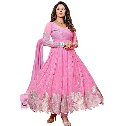 Fragrance trendz New Pink Color Georgette Fabric Anarkali Dress Material