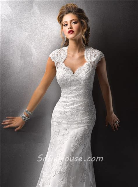 Sexy Sheath Cap Sleeves Vintage Lace Wedding Dresses With