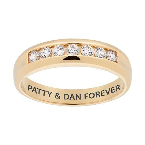 10K Gold CZ Mens Engraved Name Wedding Band   22374