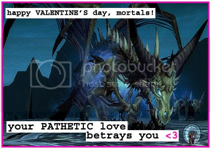 Rioriel and Nevik's daily World of Warcraft screenshot presentation of significant locations, players, memorable characters and events, assembled in the style of a series of collectible postcards. -- Postcards of Azeroth: Sindragosa, Valentine's Day