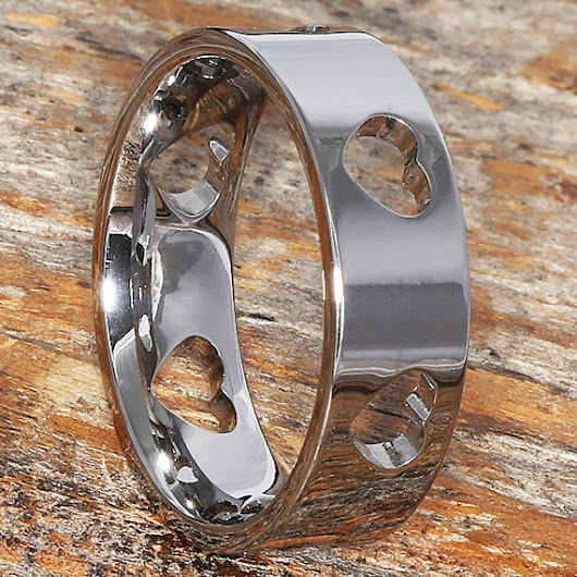 7mm Carved Tungsten Heart Ring For Women Ultra Polished