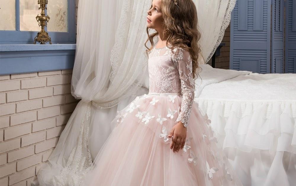 f6689fb0f37f4d1 Купить Выходное платье с цветочным рисунком для маленьких девочек детская  одежда длинным рукавом бабочка розовый сетчатые Бальные платья Дети П..