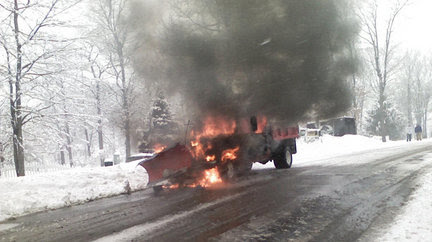 Snow Plow Bursts Into Flames In Mount Olive Njcom