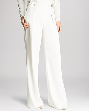 Halston Heritage Buckle Detail Wide Leg Trousers