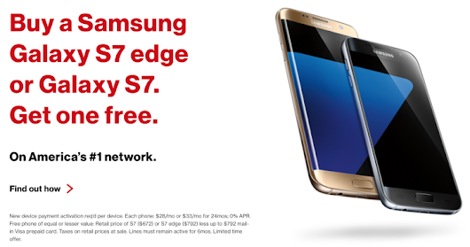 [Deal Alert] Verizon Is Now Offering Buy-One-Get-One-Free On The Galaxy S7 And S7 Edge