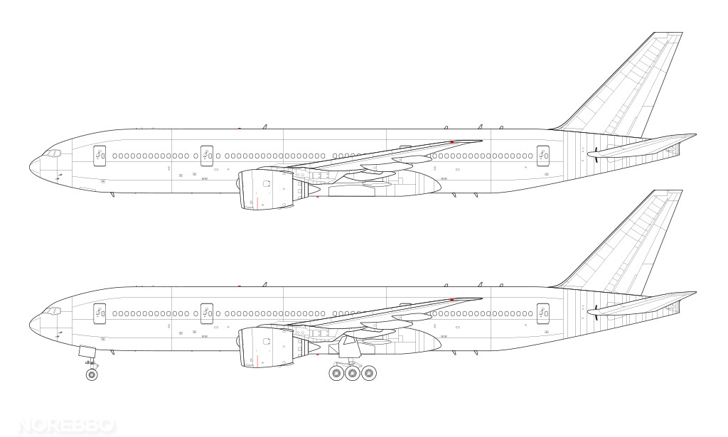 Boeing 777-200 blank illustration templates – Norebbo