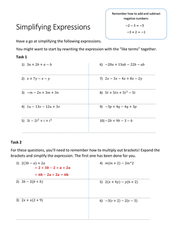 34 Simplifying Expressions Worksheet With Answers ...