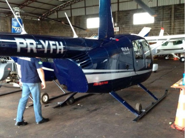 Entre os bens já apreendidos pela PF está um helicóptero (Foto: Divulgação / PF)