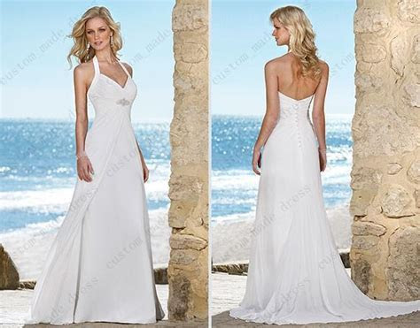 Discount Summer White Halter Wedding Dress Empire Waist