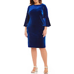 Calvin Klein Plus Size Velvet Bell-Sleeve Dress - Blue 16W