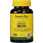Nature's Plus - Chewable Iron with Vitamin C and Herbs - 90 Chewable Tablets
