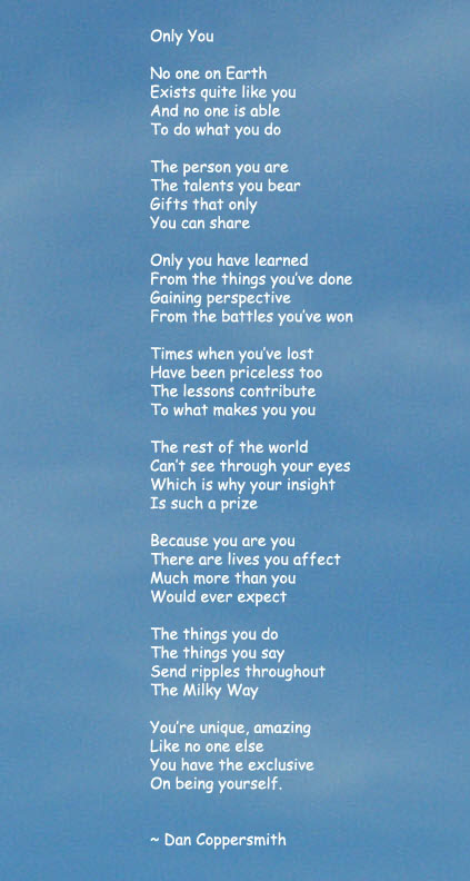 Only You Poem And Poster Celebrates Your Uniqueness Great For Kids