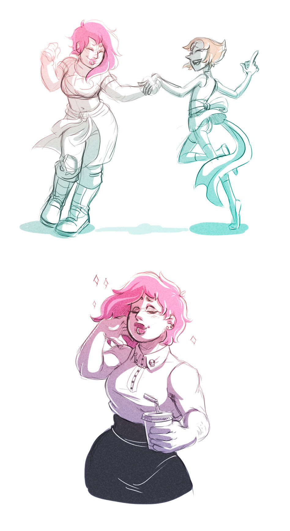 Just a couple of sketches. I was hoping to draw more but…*shrugged* Also trying to add some color to my sketches. haha But man do I love these two. Mystery Girl needs to come baaaaaack.